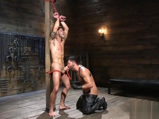 dom Sexy dom hunk sucks off his helpless sub sexy